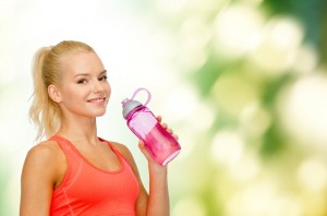 fit woman with water